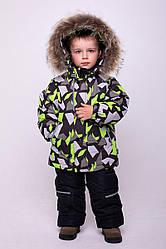 Детский комплект зимний, натуральный мех енот, Джони, цвет салат, на рост 104 по 122