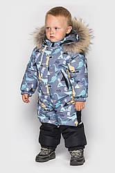 Детский комбинезон зимний, натуральный мех енот, Ренни, цвет Серо - черный на рост от 86 по 98