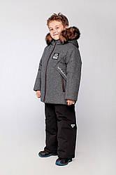 Детский комплект зимний, натуральный мех песец,  Марк, цвет Серый-черн на рост 110 и 122