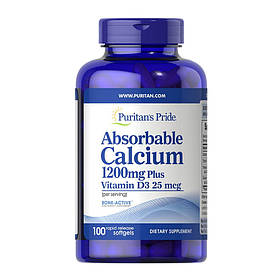 Кальций карбонат Д3 Puritan's Pride Absorbable Calcium 1200 mg Plus Vitamin D3 25 mcg (100 капс) пуританс