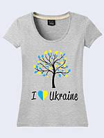 Футболка 3D жіноча Люблю Україну меланж