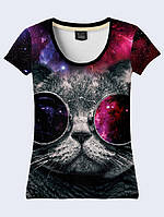 Футболка 3D жіноча Космічний кіт хс