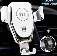 Автомобільний тримач з бездротовою зарядкою 9V/2A , 5V/2A на торпеду/скло (білий), фото 2