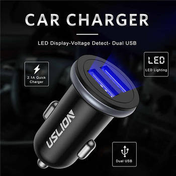 Автомобільний зарядний пристрій USLION 2x USB