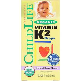 Органічний Вітамін K2 в Краплях, Ягідний смак, ChildLife, 12 мл