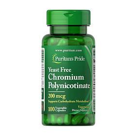 Хром піколінат Puritan's Pride Chromium Polynicotinate 200 mcg Yeast Free (100 veg caps) пуританс прайд