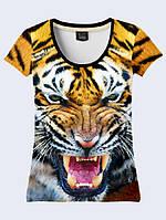 Футболка 3D жіноча Оскал тигра