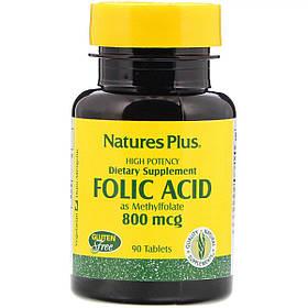 Фолієва кислота, 800 мкг, Natures Plus, 90 таблеток