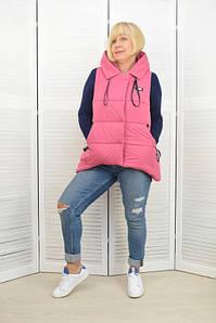Женская жилетка с капюшоном розовая - Модель Х2