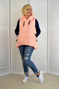 Женская жилетка с капюшоном оранжевая - Модель Х3