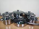 Набор кастрюль SwissHaus 6 шт (12 предметов) с многослойным дном из нержавеющей стали, набор кухонной посуды, фото 10