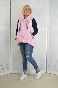 Женская жилетка с капюшоном пудра - Модель Х4