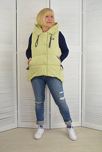 Женская жилетка с капюшоном салатовая - Модель Х5