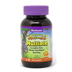 Мультивітаміни для Дітей, Смак Апельсина, Rainforest Animalz, Bluebonnet Nutrition, 90 жувальних цукерок
