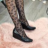 """Черные женские туфли на устойчивой танкетке, натуральная кожа """"питон""""., фото 3"""