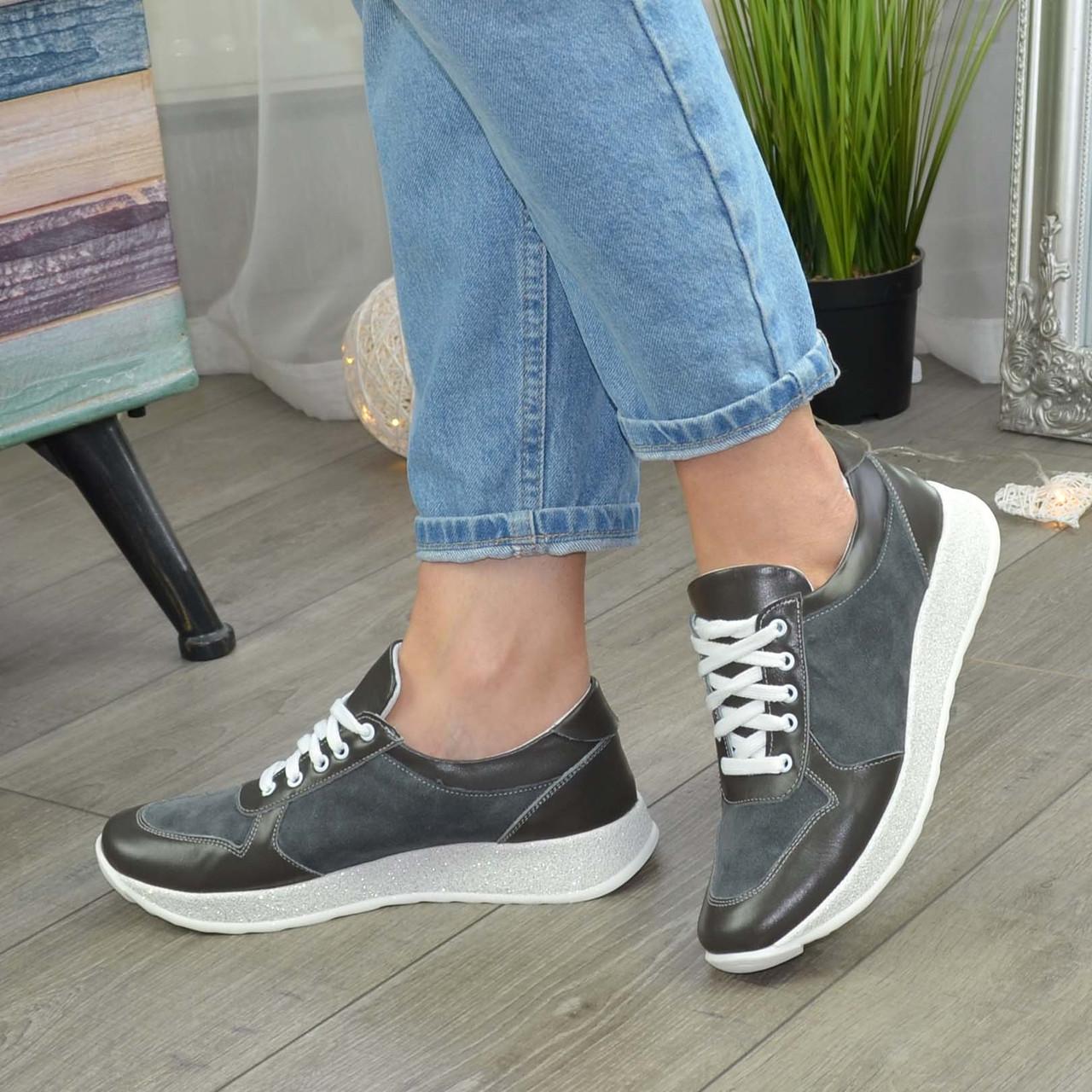 Стильные кроссовки женские на шнуровке, цвет серый