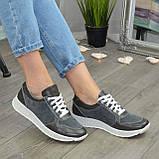 Стильные кроссовки женские на шнуровке, цвет серый, фото 3