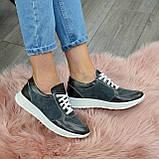 Стильные кроссовки женские на шнуровке, цвет серый, фото 4