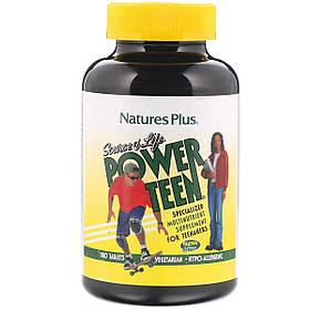 Мультивітаміни для Підлітків, Source of Life, Power Teen, Natures Plus, 180 таблеток