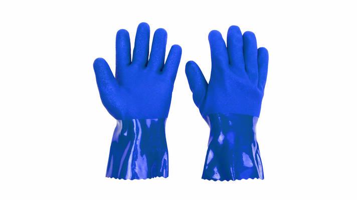 Перчатки маслобензостойкие , ПВХ синие, широкий манжет,  31см «BLUETEK» уп. — 10 пар, фото 2