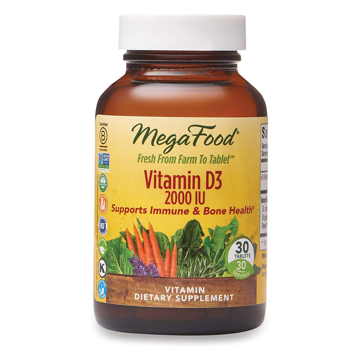 Витамин D3 2000 IU, Vitamin D3, MegaFood, 30 таблеток