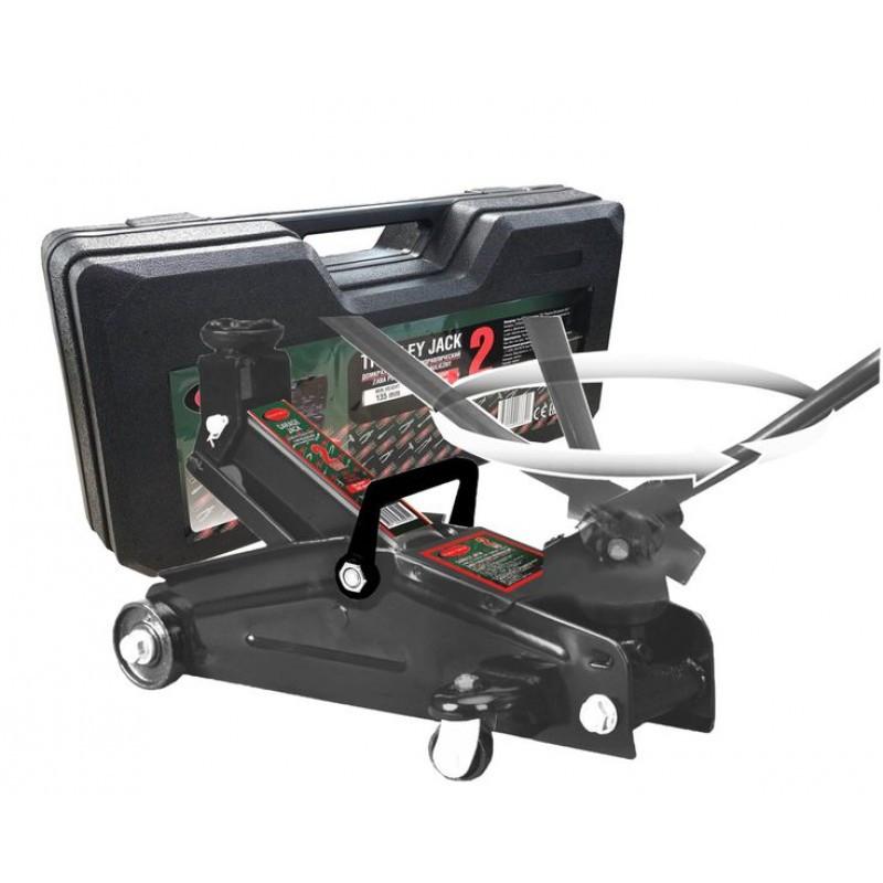 Домкрат подкатной  2 т с вращающейся ручкой 180° и резиновой накладкой в кейсе