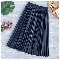 Женская плиссированная юбка плиссе из кожзама синяя, фото 1