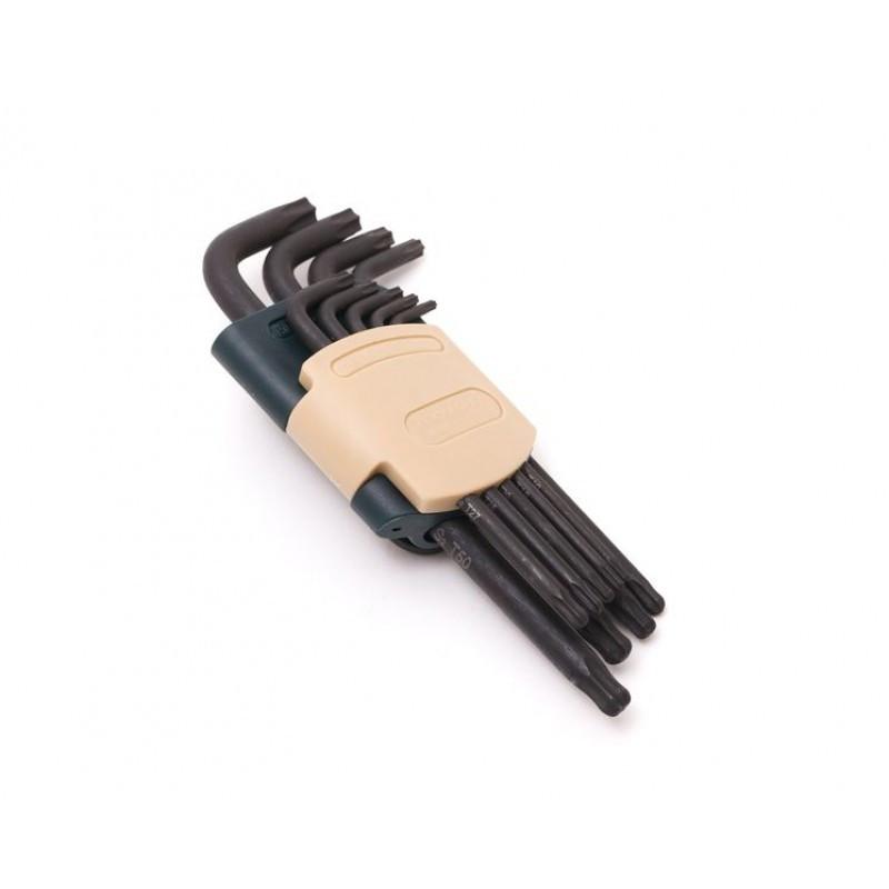 Набор ключей TORX Г-образных длинных с шаром, 9 пр. в пластиковом держателе