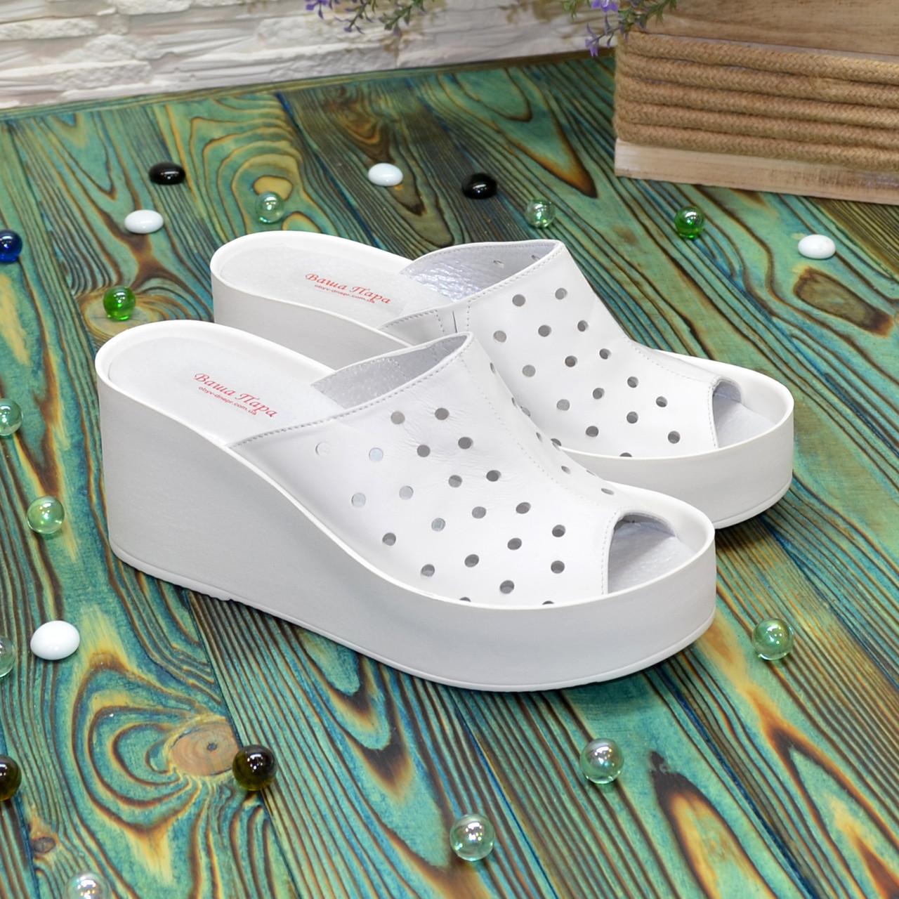 Сабо женские кожаные на устойчивой платформе, цвет белый. 40 размер