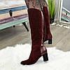 Сапоги бордовые женские на устойчивом каблуке, декорированы накаткой камней. 39 размер, фото 5
