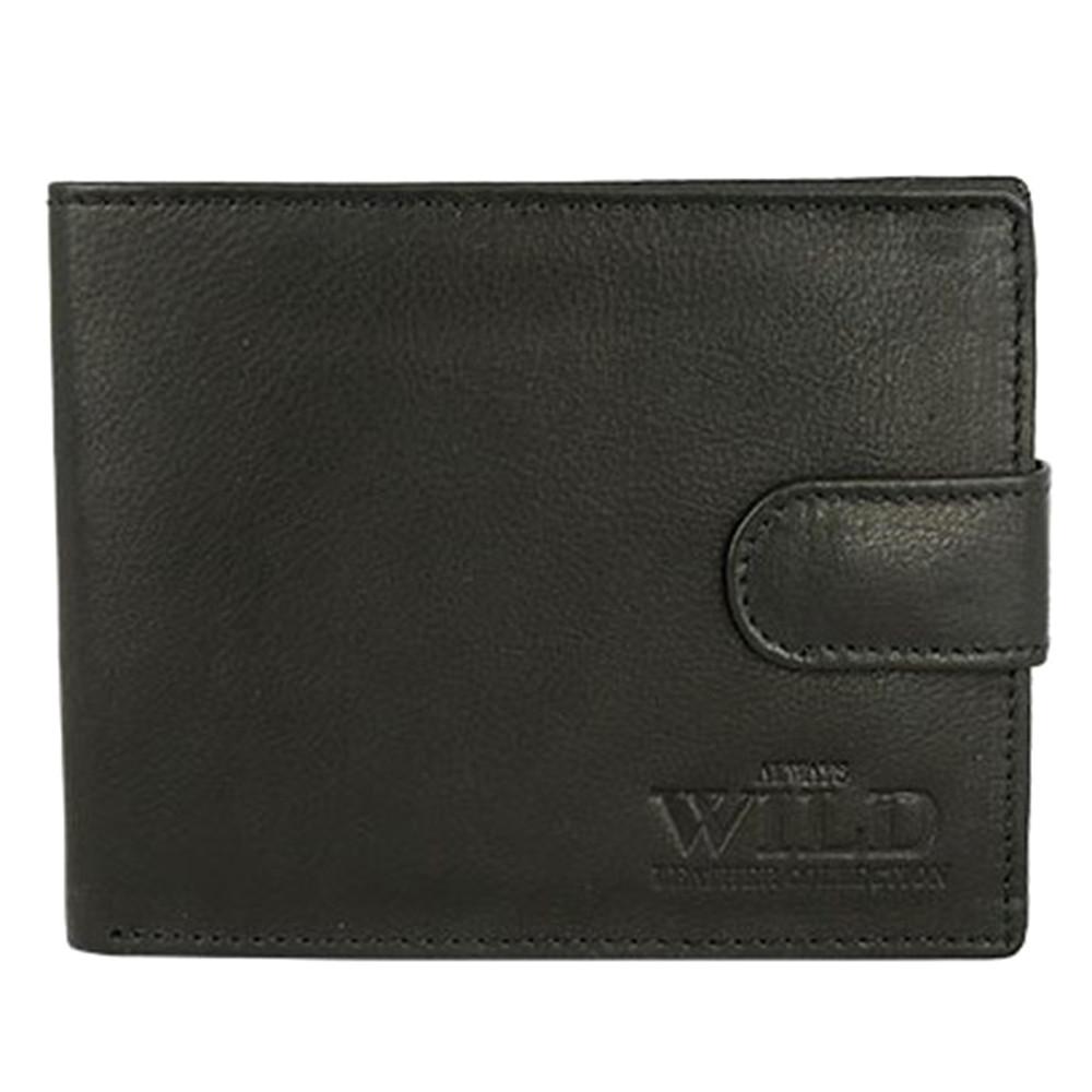 Чоловіче шкіряне портмоне на кнопці чорне Always Wild N992L-CCF
