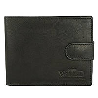 Чоловіче шкіряне портмоне на кнопці чорне Always Wild N992L-CCF, фото 1