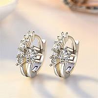 Серьги с стразами, медсплав, красивые серьги, серьги с кристаллом FS1714-75, фото 1