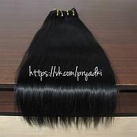 Натуральные волосы на заколках 50 см, 10 прядей, черный , 01