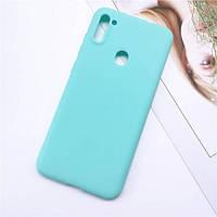 Чехол Soft Touch для Samsung Galaxy M11 (M115) силикон бампер мятно-голубой