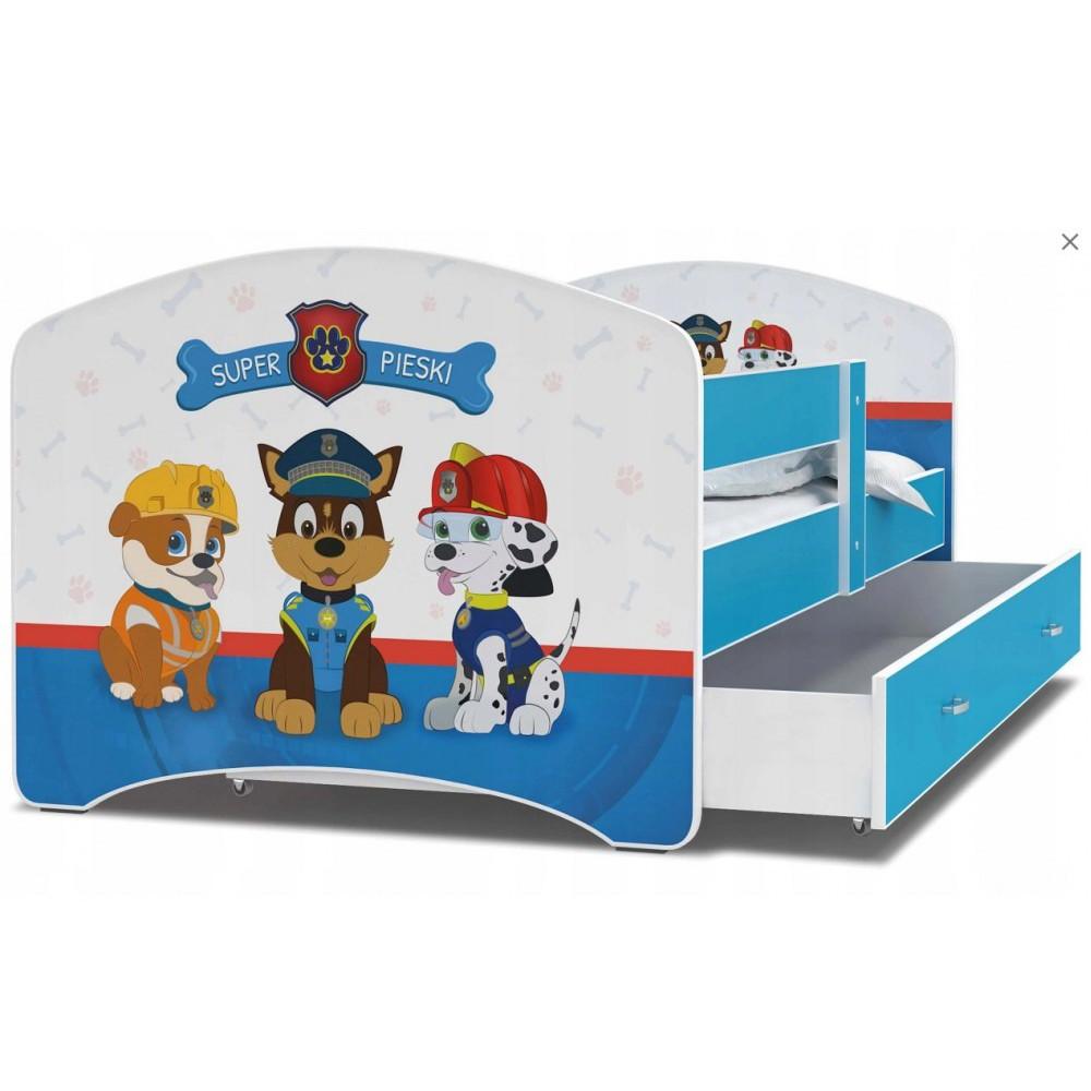 Детская кровать с бортиками и ящиком Luki Щенячий патруль П160х80 см (47L) + матрас