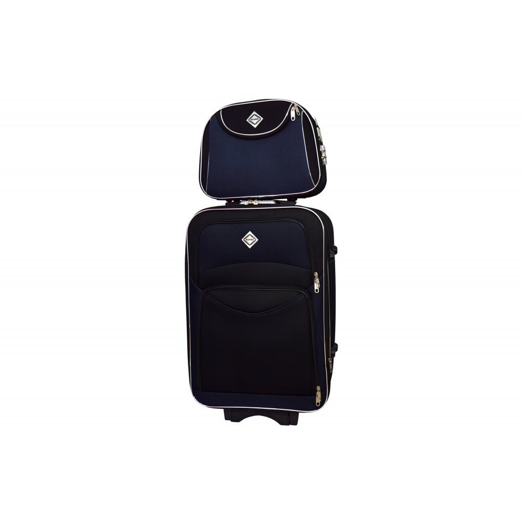 Комплект валіза + кейс Bonro Style (середня) чорно-т. синя