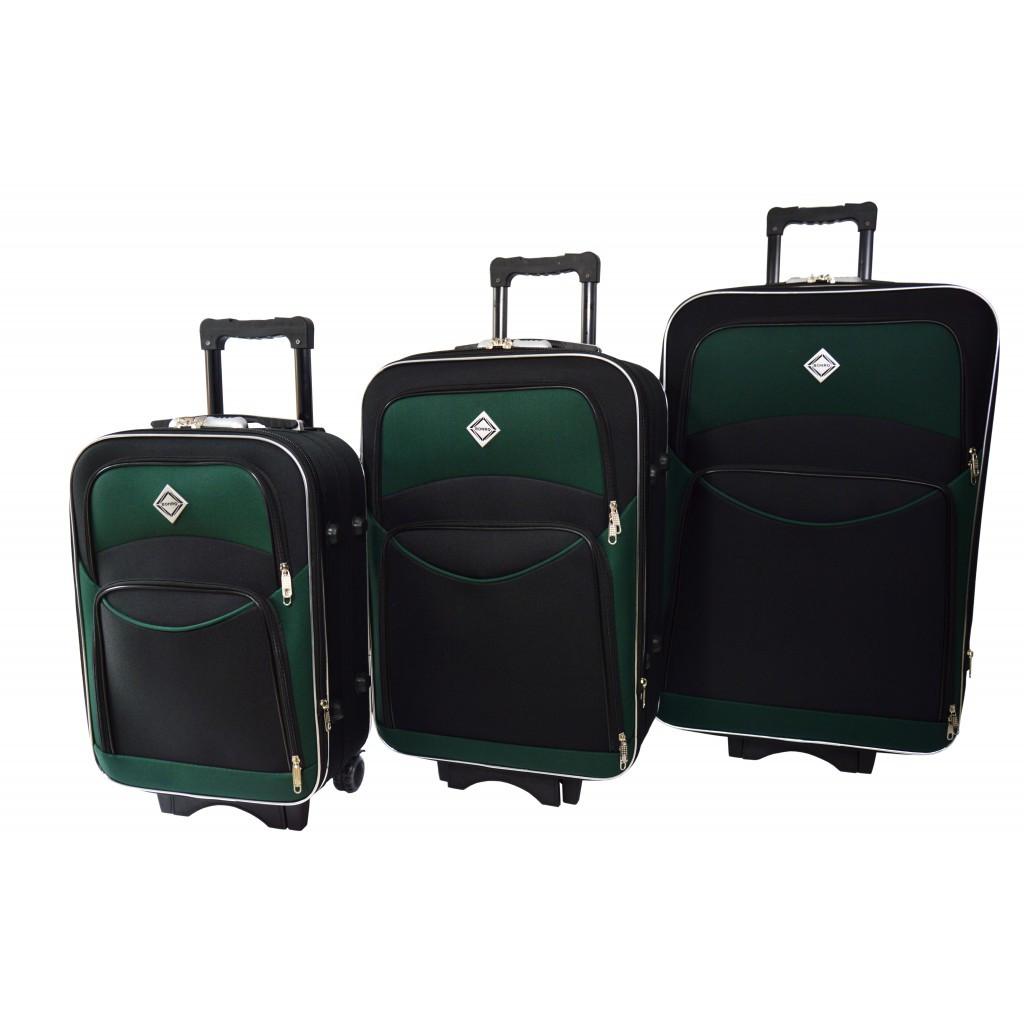 Валіза Bonro Style комплект 3 штуки чорно-зелений