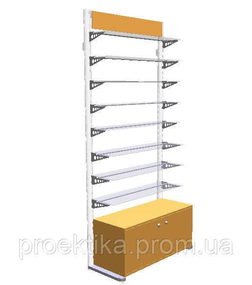 Стеллаж для аптеки без задней стенки