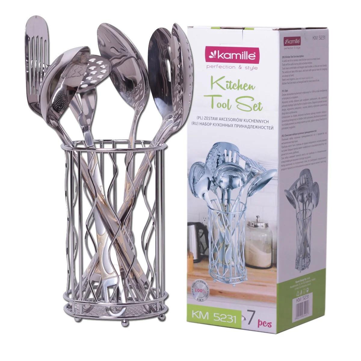 Набір кухонного приладдя Kamille Crystal Gold в металевому склянці 6 предметів
