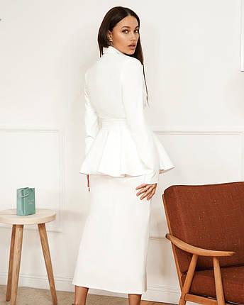 Костюм женский с баской (пиджак, юбка) AniTi 561, белый, фото 2