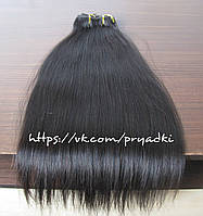 Натуральные волосы на заколках 50 см, 10 прядей, черный с коричневым отливом , 01B