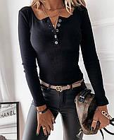 Женская стильная кофточка с U-образный декольте на пуговицах, фото 1