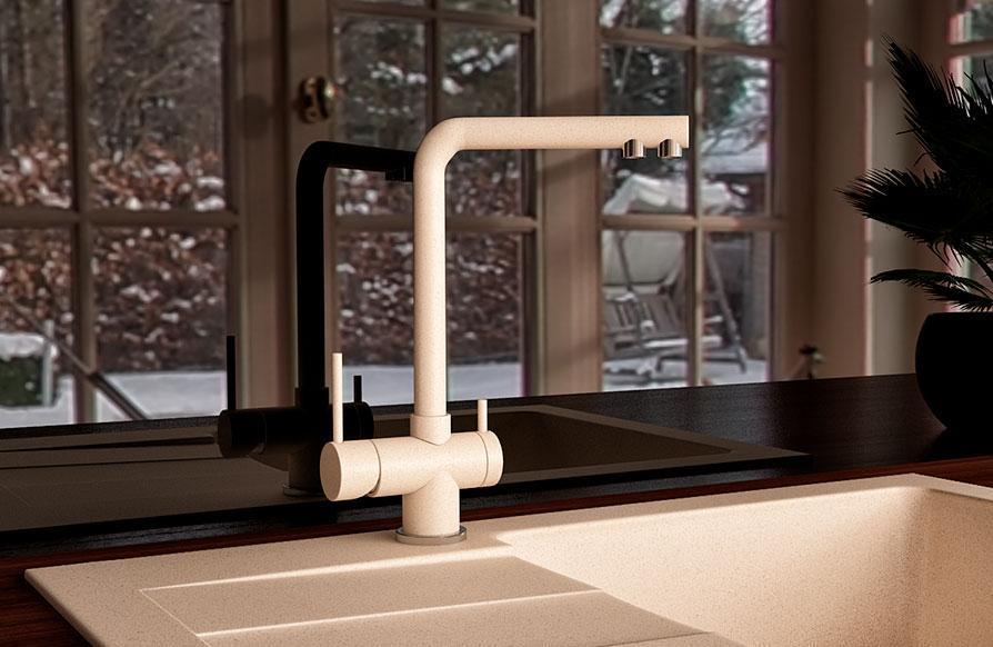 Змішувач кухонний з підключенням до фільтру KAHER MARIS 07 бежевий