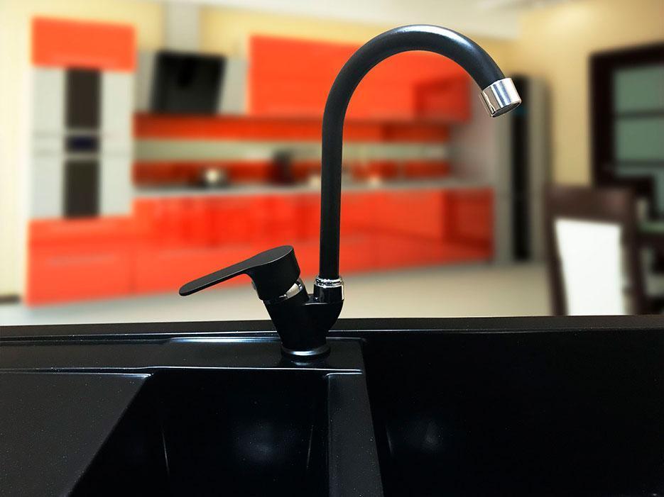 Смеситель кухонный гранитный KAHER VEGA 02 черный