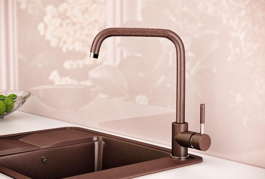 Змішувач кухонний гранітний KAHER IMPERIAL 05 коричневий