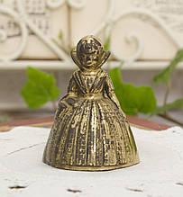 Старий бронзовий дзвіночок, дівчинка в сукні, бронза, Англія, вінтаж