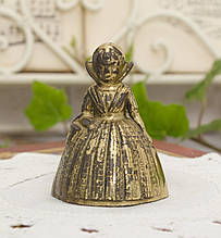 Старый бронзовый колокольчик, девочка в платье, бронза, Англия, винтаж