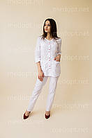 Медицинский костюм женский хлопок белый на кнопках (батист) 1-2293-1