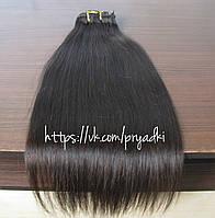 Натуральные волосы на заколках 50 см, 10 прядей, темно- коричневый, 02